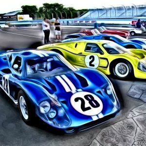 Cartoonized GT40 MkIVs at SAAC-37
